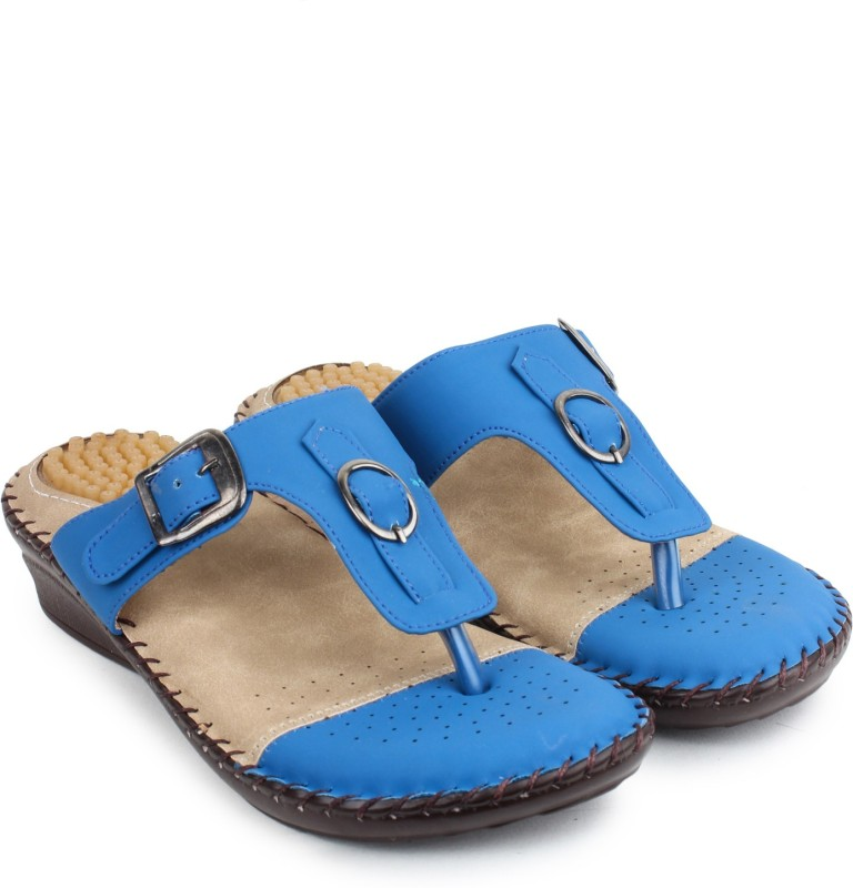 Doctor Soft Women Blue Wedges