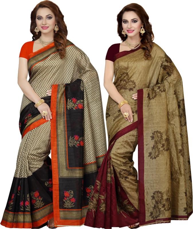 Ishin Printed Bhagalpuri Art Silk Saree(Pack of 2, Multicolor)