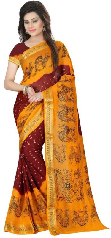 Saarah Printed Bandhani Cotton Saree(Yellow)
