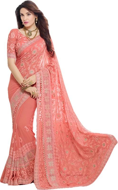 onlinefayda Embroidered Fashion Chiffon Saree(Pink)