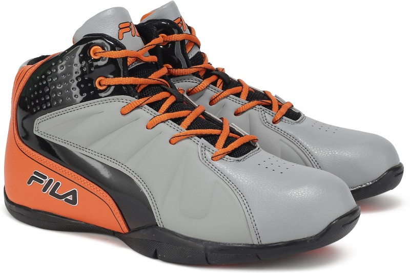 Fila REBOUND-3 BasketBall Shoes For Men(Grey, Orange)