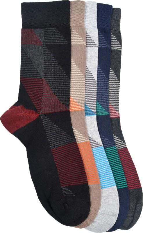 Vinenzia Mens Striped Crew Length Socks(Pack of 5)