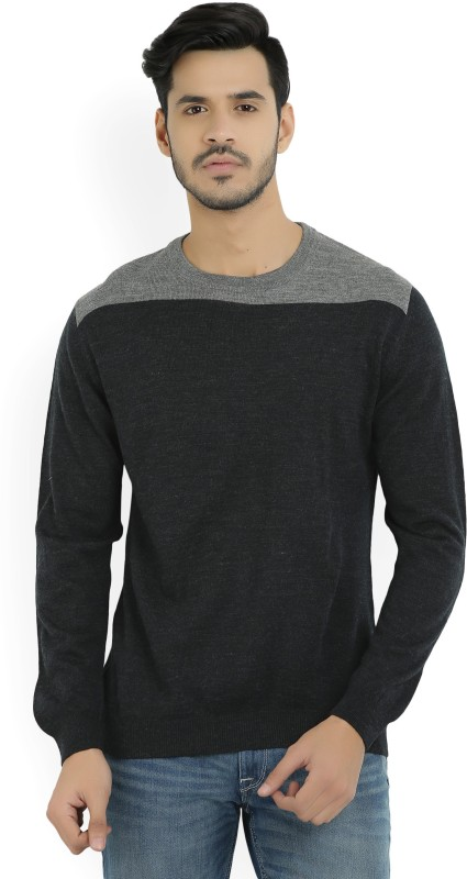 Wills Lifestyle Solid Round Neck Casual Mens Black, Grey Sweater