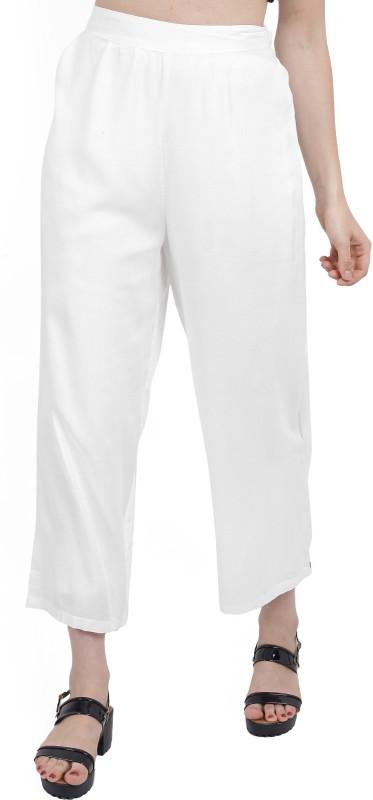 Biba Regular Fit Women White Trousers
