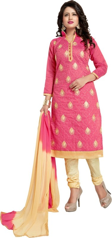 Saara Chanderi Solid, Embroidered Salwar Suit Dupatta Material(Un-stitched)