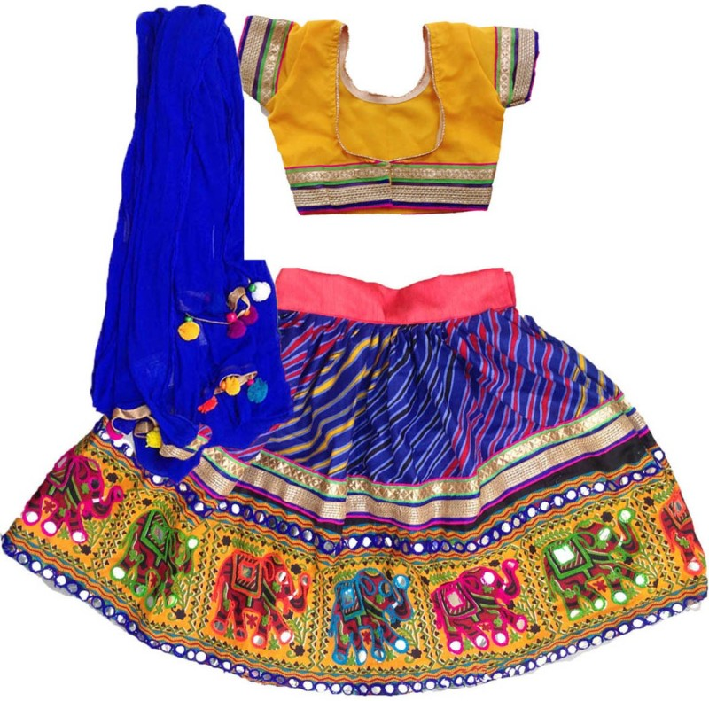 Aglare Baby Girl's Lehenga Choli Fusion Wear Embroidered Lehenga, Choli and Dupatta...