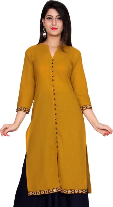 GMI Embroidered Women's Straight Kurta(Yellow)