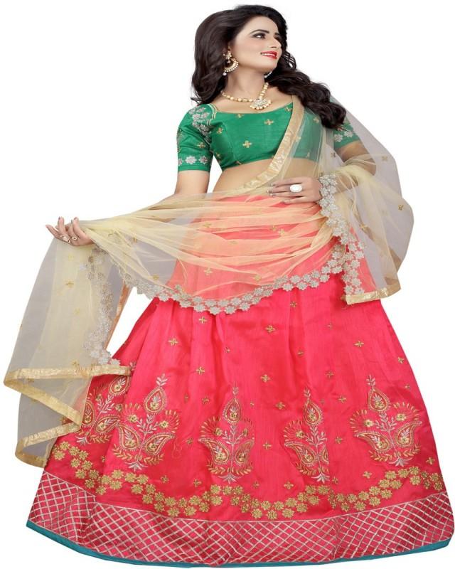 fab lasa Embroidered Women Semi Stitched(Pink, Green, Size: Free)