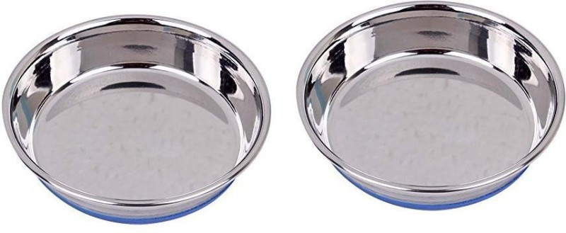 Pets Empire Cat feeding Bowl with silicone Base 270ML (pack of 2) round Stainless Steel Pet Bowl(270 ml Silver)