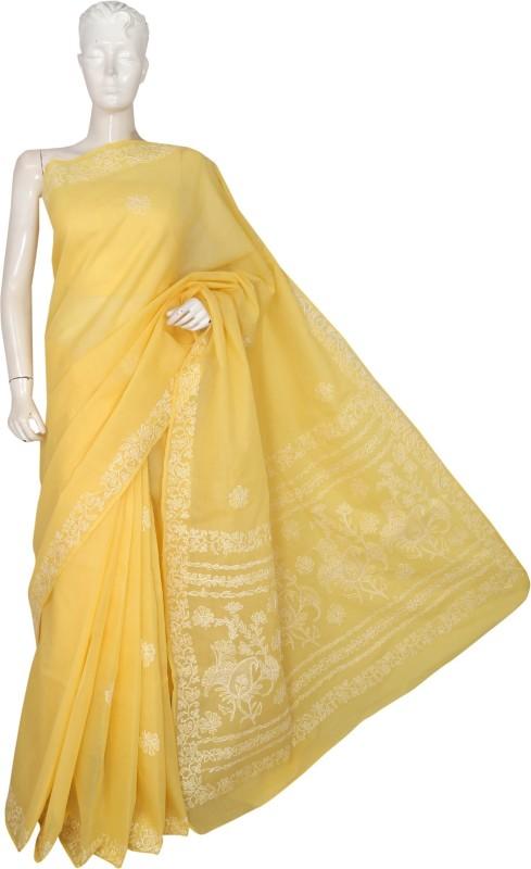 Ada Floral Print Lucknow Chikankari Handloom Cotton Saree(Yellow)