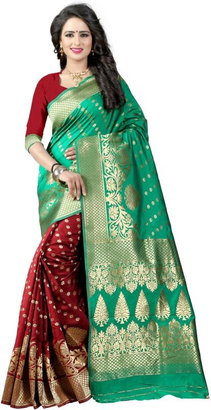 The Fashion Outlets Self Design, Plain Banarasi Cotton, Silk Saree(Maroon)