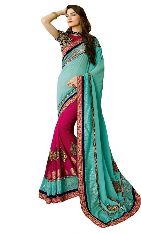 Kvsfab Embroidered Fashion Georgette, Jacquard Saree(Blue, Pink)