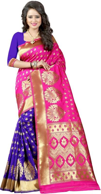 Style U Woven Banarasi Jacquard, Poly Silk Saree(Pink, Blue)
