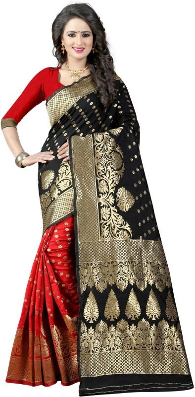 The Fashion Outlets Self Design, Plain Banarasi Cotton, Silk Saree(Black)
