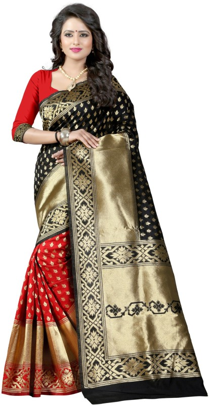The Fashion Outlets Self Design, Plain Banarasi Cotton, Silk Saree(Red)