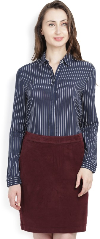 United Colors of Benetton Womens Striped Casual Dark Blue Shirt