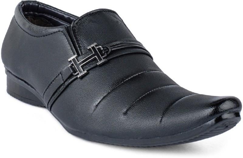Aadi Black Synthetic Leather Formal Shoes Slip On For Men(Black)