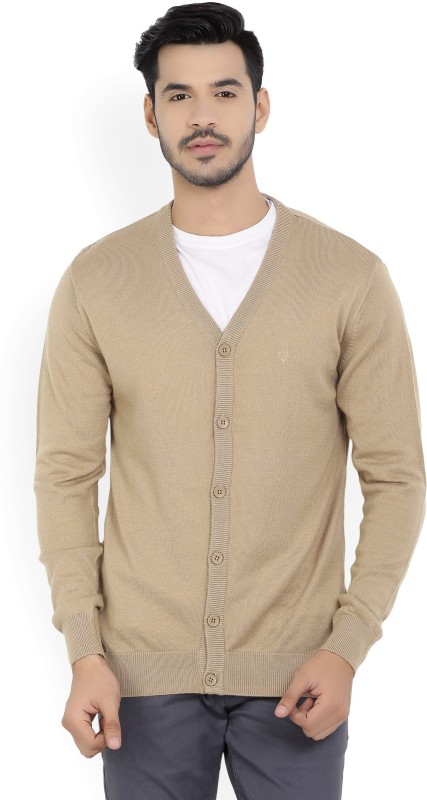 Allen Solly Solid V-neck Casual Mens Brown Sweater