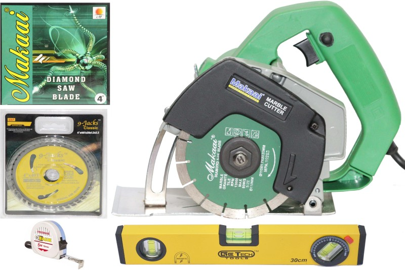 Digital Craft MAKAAI 110mm (4 Inch) -Heavy Duty Tile/wood Cutter Machine + 1 Pc. (wood + Tile) Cutting Blades Free COMBO OFFER Handheld Tile Cutter(1050 W)