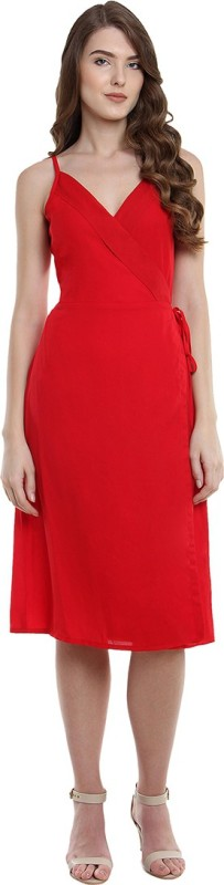 Miss Chase Women's Wrap Red Dress
