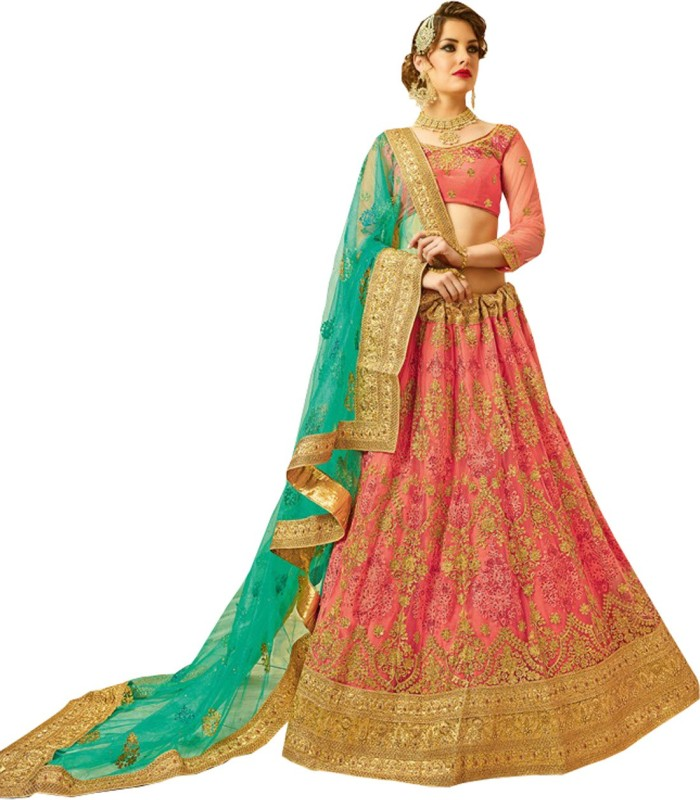 2. Melluha Embroidered Women's Lehenga, Choli and Dupatta Set