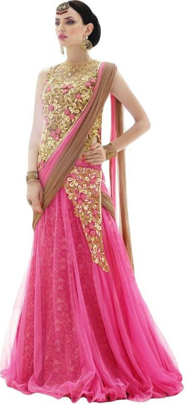 Fashionuma Embroidered Women's Semi Stitched(Pink, Size: Free)