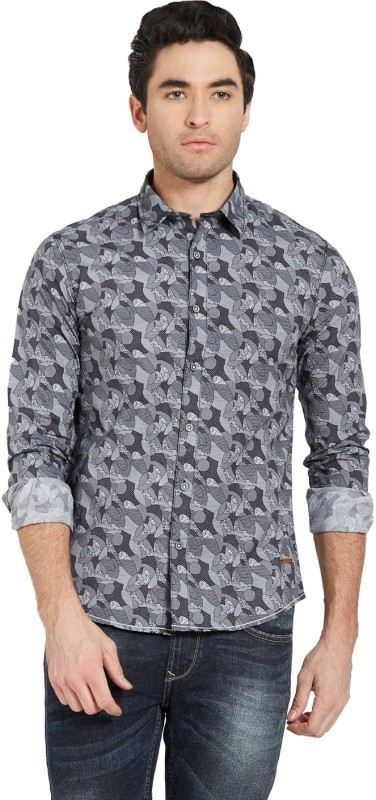 Spykar Mens Printed Casual Cut Away Shirt