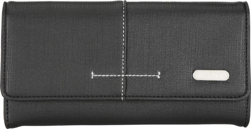 Lavie Women Black Artificial Leather Wallet(10 Card Slots)