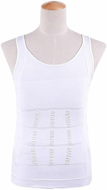 Being Trendy ™ Compression Weight Loosing Slimming Body Men Compression(White Sleeveless)