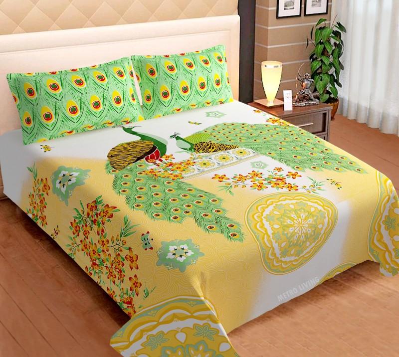 Metro Living 144 TC Cotton Double King Animal Bedsheet(Pack of 1, Green)