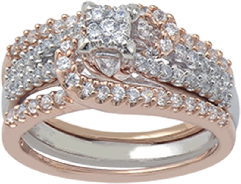 LOLLS Solitaire with Accents Collection Sterling Silver Cubic Zirconia 14K Rose Gold Plated Ring