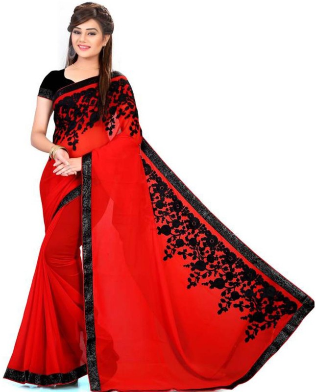 Zypara Embroidered Bollywood Georgette Saree(Red)