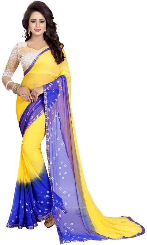 Ishin Printed Bandhani Synthetic Chiffon Saree(Yellow)