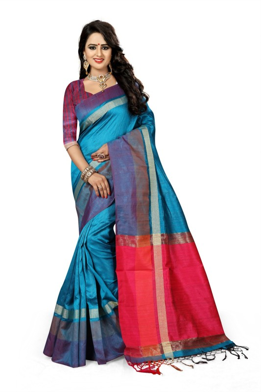 The Fashion Outlets Self Design, Plain Kanjivaram Cotton, Silk Saree(Light Blue)