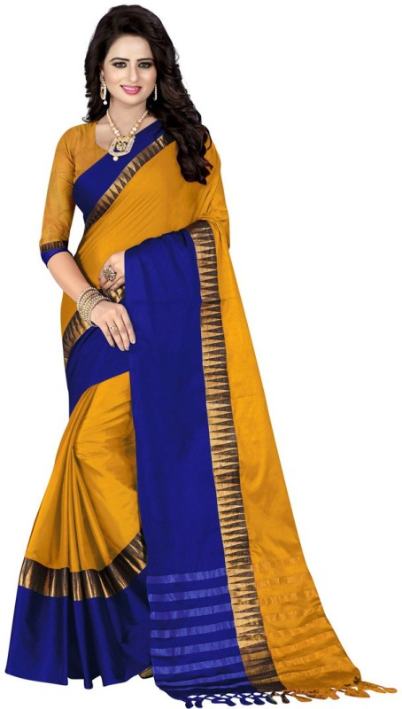 Saara Self Design, Solid, Striped Fashion Poly Silk Saree(Yellow, Blue)