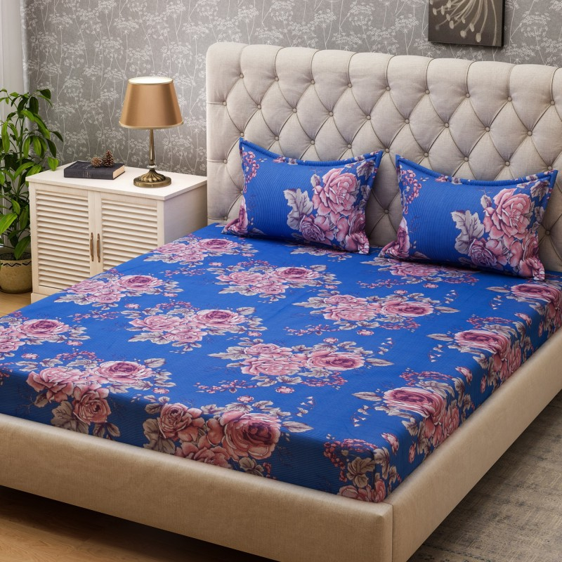 SPACES 104 TC Cotton Double Floral Bedsheet(1Pcs Double Bed sheet 2 Pillow cover, Blue)