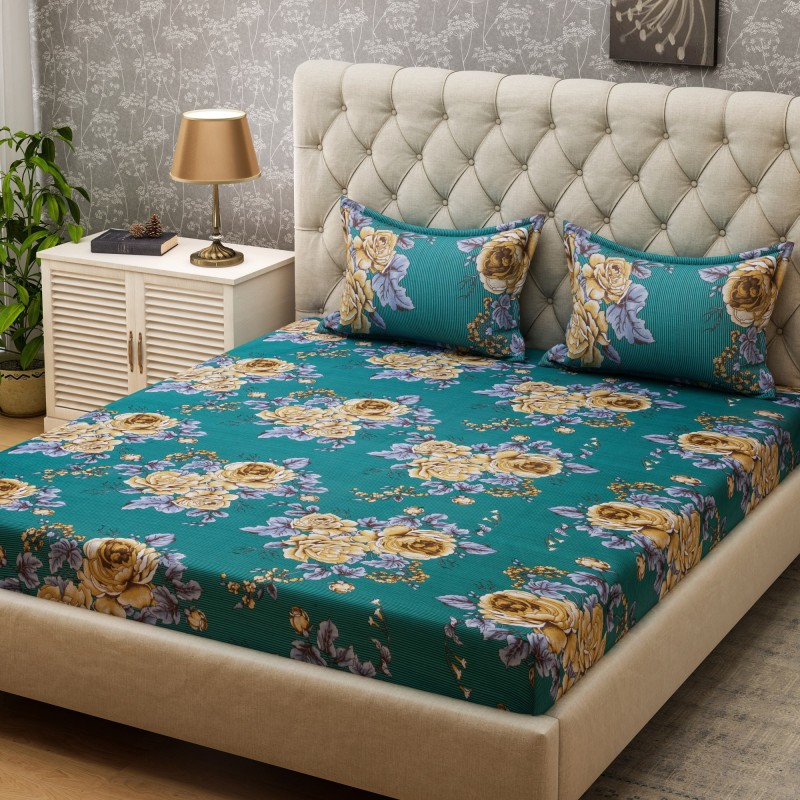 SPACES 104 TC Cotton Double Floral Bedsheet(1Pcs Double Bed sheet, 2 Pillow cover, Green)