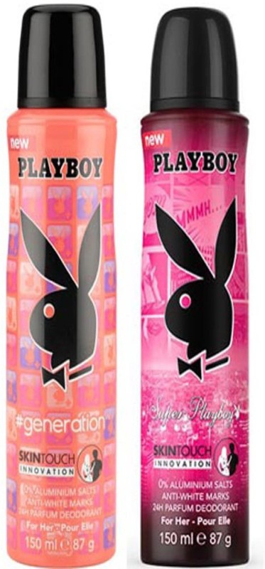 Playboy GENERATION & SUPER WOMEN DEO Deodorant Spray - For Women(300 ml, Pack of 2)