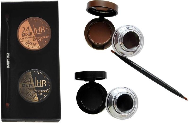ADS 24 HR Eye Powder & Waterproof Eyeliner Gel 7 g(Brown, Black)