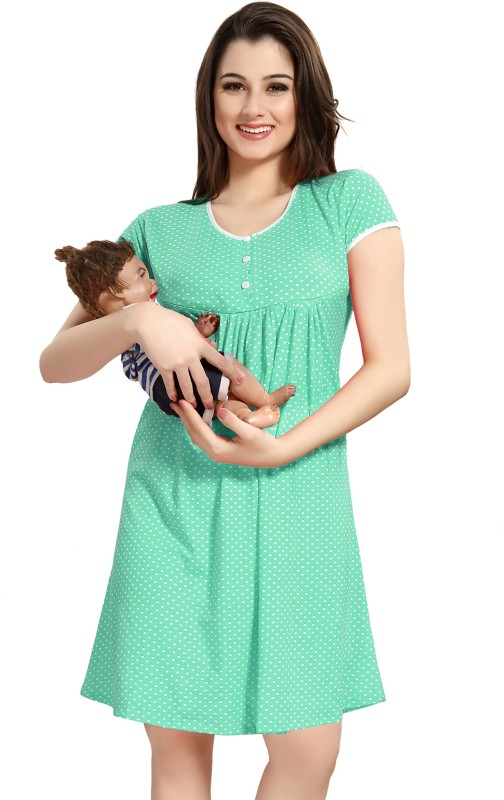 AV2 Women Maternity/Nursing Nighty(Green)