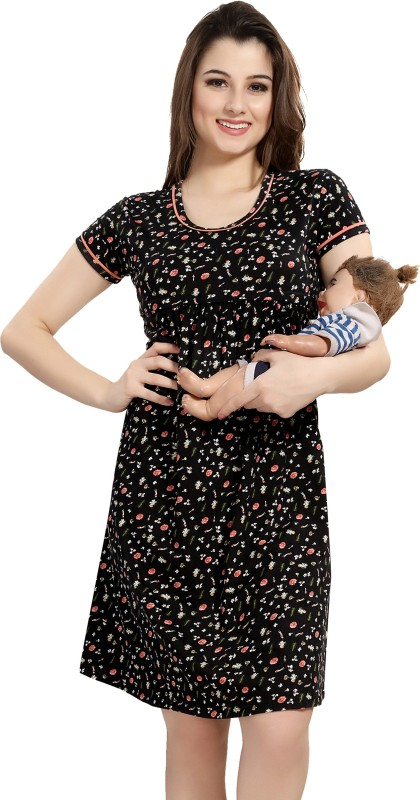 AV2 Women Maternity/Nursing Nighty(Black)