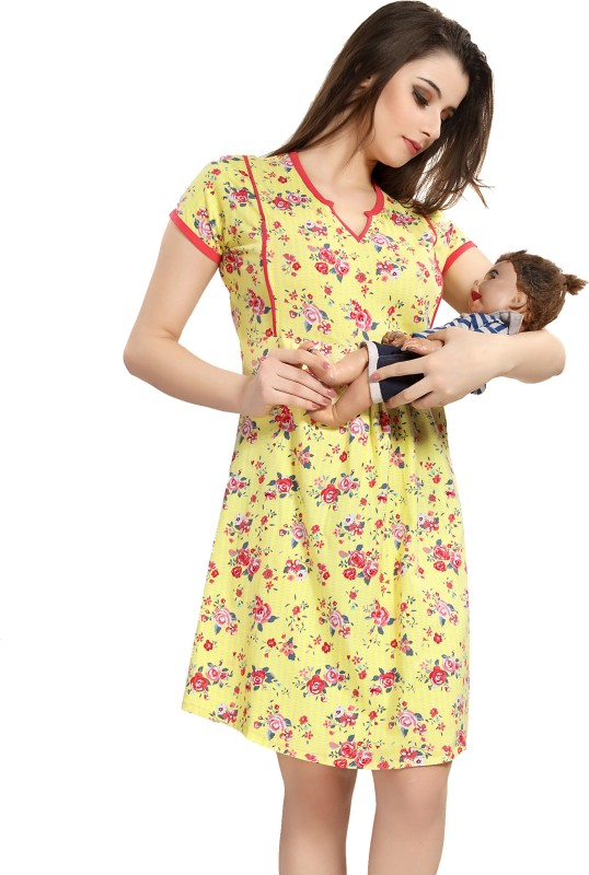 AV2 Women Maternity/Nursing Nighty(Yellow)