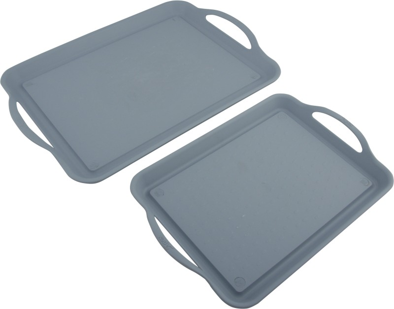 Axtry Apex Serving Tray Set Gray Glass Tray Serving Set