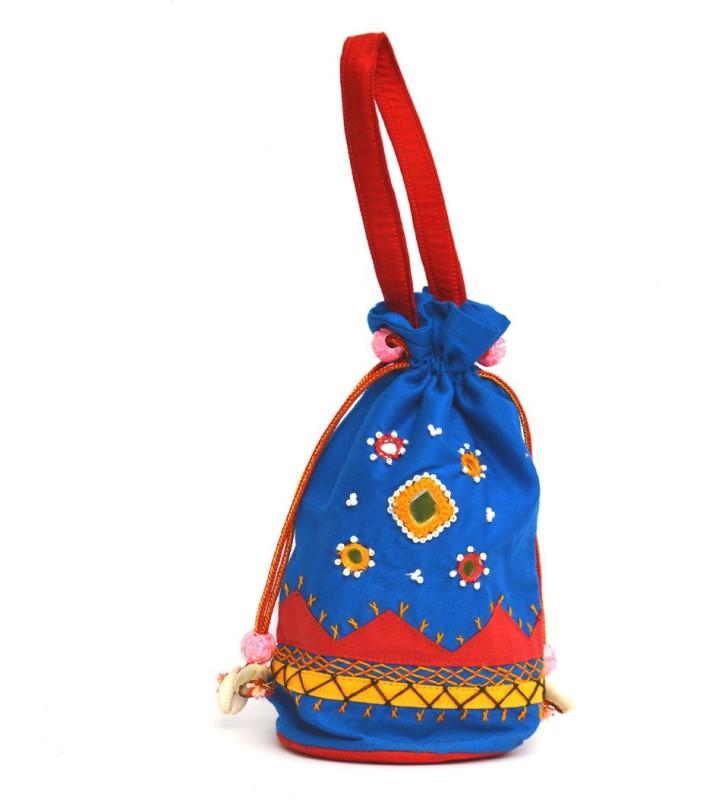 Art Godaam Hand made applique potli Potli(Blue)