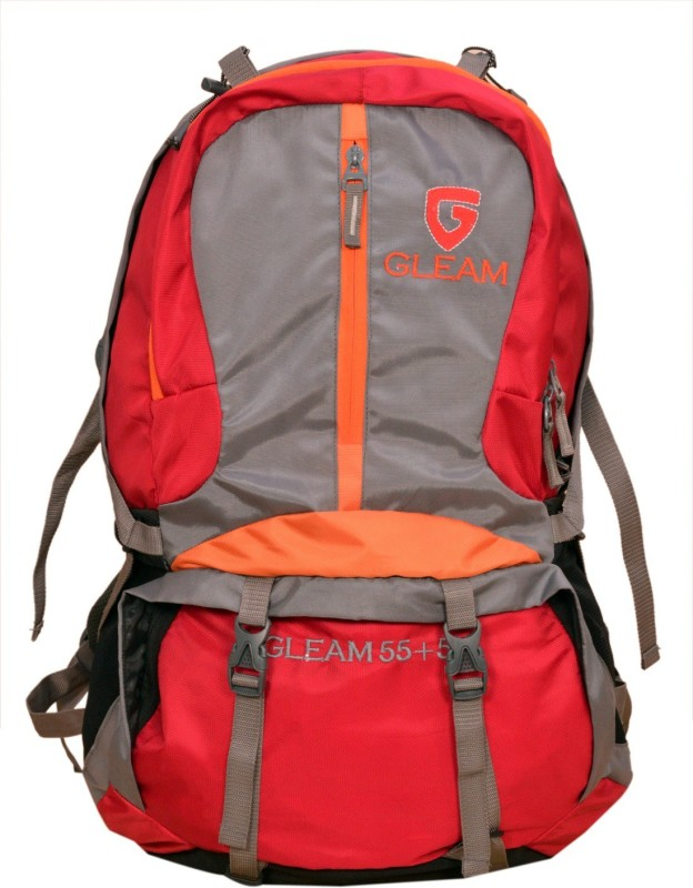 Gleam 2213 Climate Proof Mountain / Hiking / trekking / Campaign Bag /Backpack 60 Ltrs Red & Grey with Laptop Sleeve & Rain Cover Rucksack - 60 L(Multicolor)