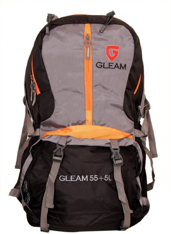 Gleam 2210 Climate Proof Mountain / Hiking / trekking / Campaign Bag /Backpack 60 Ltrs Black & Grey with Laptop Sleeve & Rain Cover Rucksack - 60 L(Multicolor)