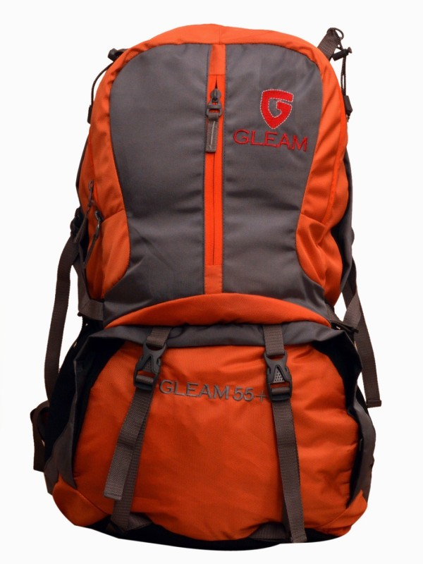 Gleam 2212 Climate Proof Mountain / Hiking / trekking / Campaign Bag /Backpack 60 Ltrs Orange & Grey with Laptop Sleeve & Rain Cover Rucksack - 60 L(Multicolor)