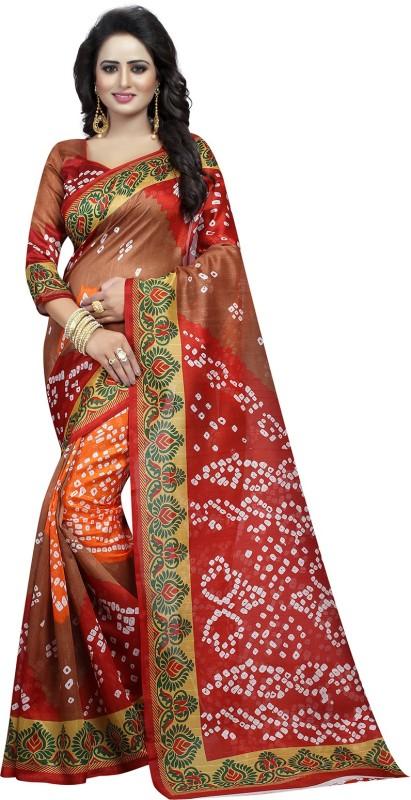Ishin Self Design Bandhani Art Silk Saree(Multicolor)