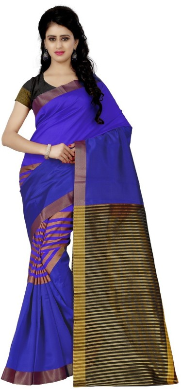 Trendz Style Striped Fashion Silk Cotton Blend Saree(Blue)