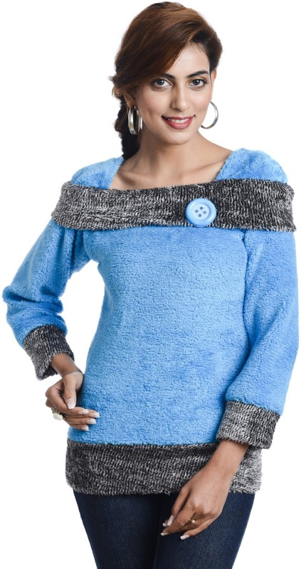 TeeMoods Casual Full Sleeve Self Design Women Blue Top